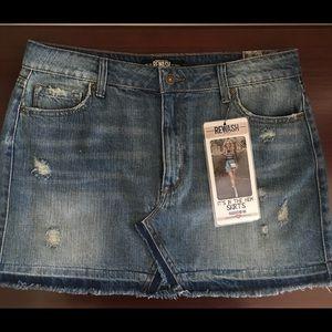 REWASH Frayed Edge Denim Mini Skirt Size 12
